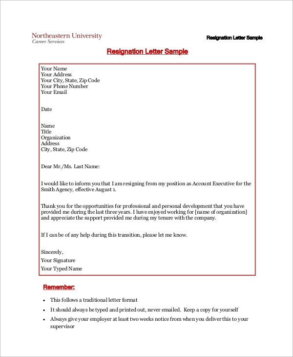 basic resignation letter 9 professional resignation letter samples sample templates 5761