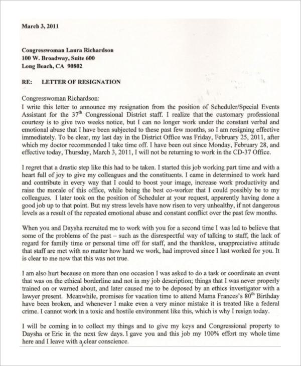 immediate resignation letter format