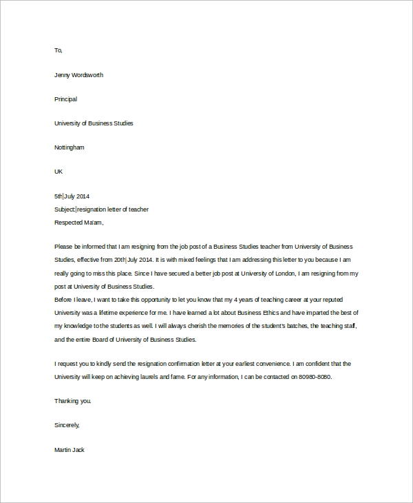 Profeesional Resignation Letter Sample   Examples In Word Pdf