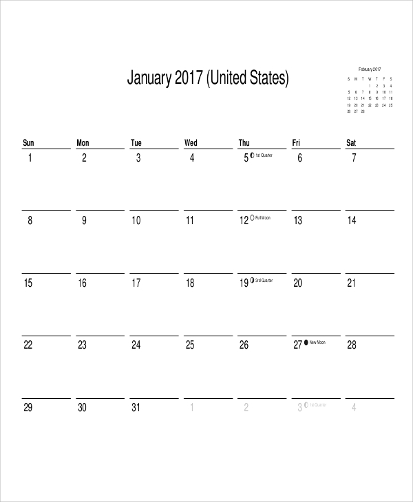 graphic about Printable Blank Monthly Calendar called Month-to-month Calendar Printable - 12+ Illustrations within Term, PDF
