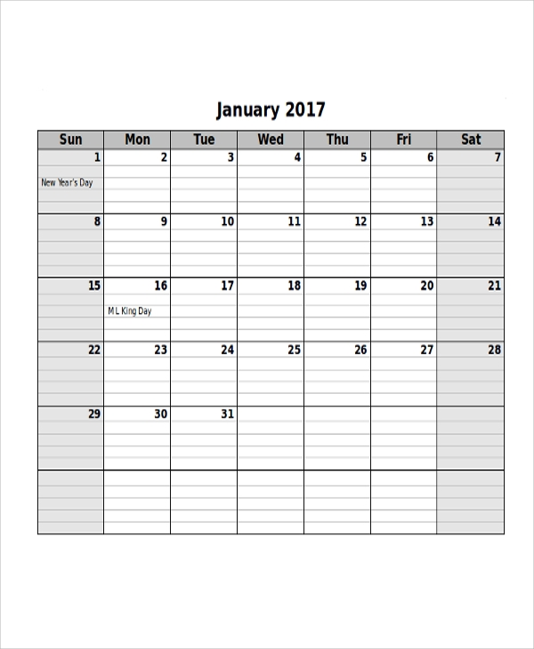 Free Sample Printable Calendar