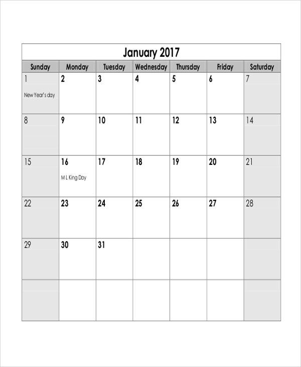 monthly calendar printable 7 examples in word pdf