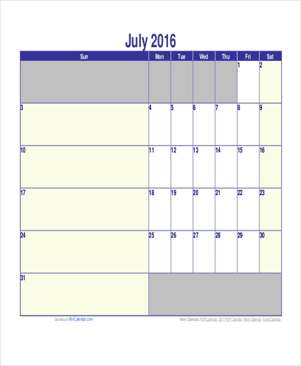 Monthly Calendar Printable   Examples In Word Pdf