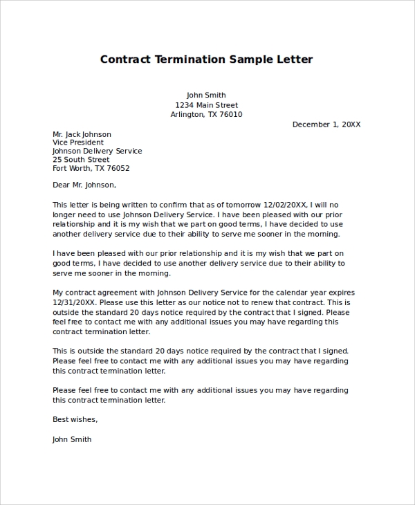 sample contract termination letter