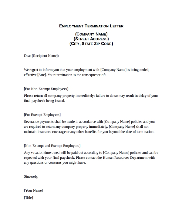 Employment Termination Letter Sample  Example Of Termination Letter To Employee