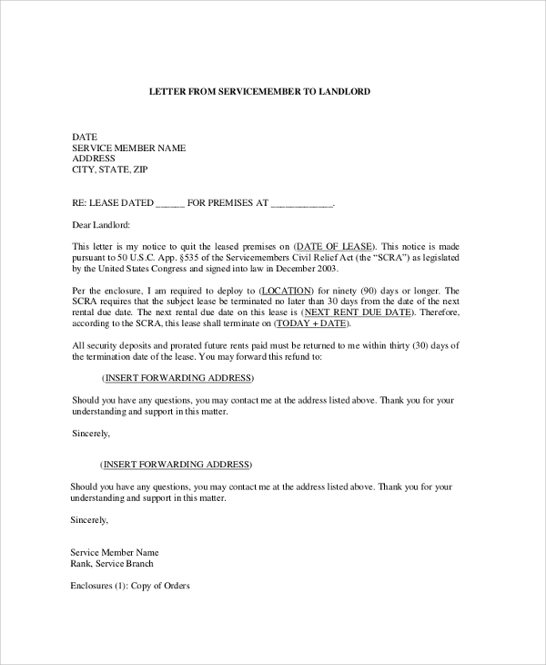 sle letter from landlord to sle termination letter business agreement termination 298