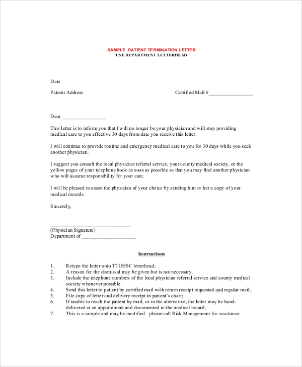 Sample Termination Letter 9 Examples in PDF Word – Termination Letter Templates