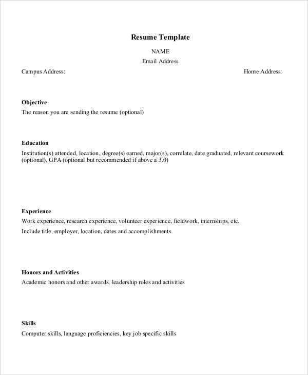 resume layout sample