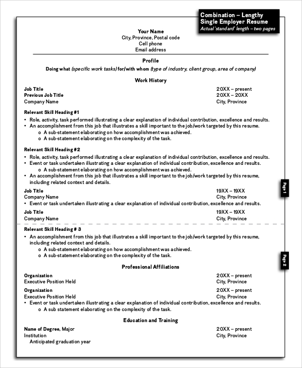 sample resume layout