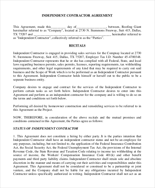Sample Independent Contractor Agreement 8 Examples in Word PDF – Independent Agreement Contract