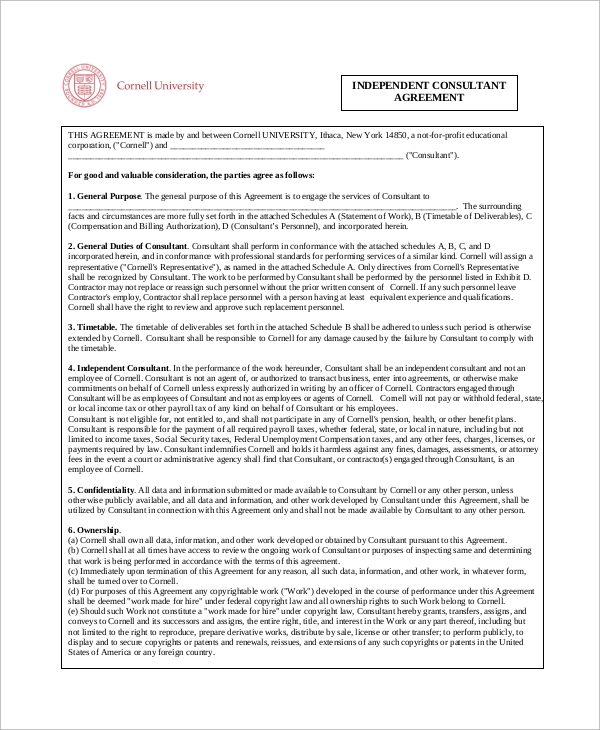 Sample Independent Contractor Agreement 8 Examples in Word PDF – Independent Consulting Agreement