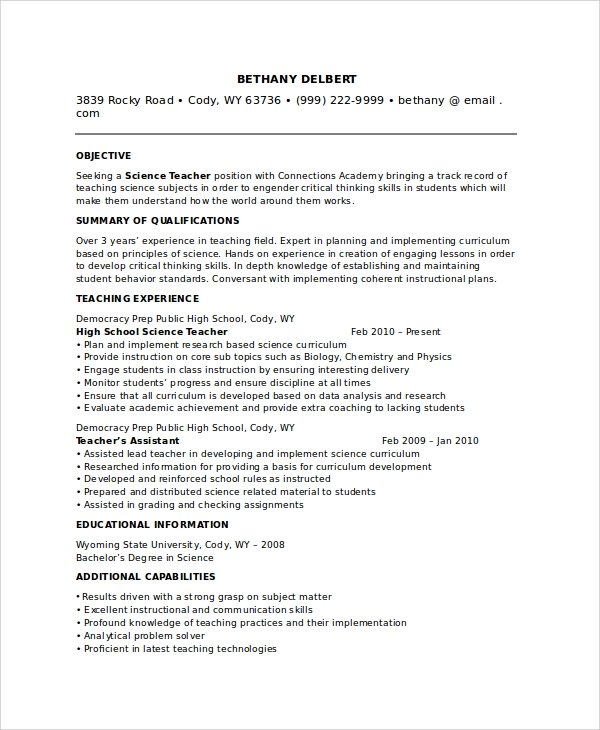 Free 8 Sample Teacher Resume Templates In Pdf Ms Word