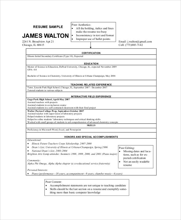 sample teacher resume 8 examples in pdf word