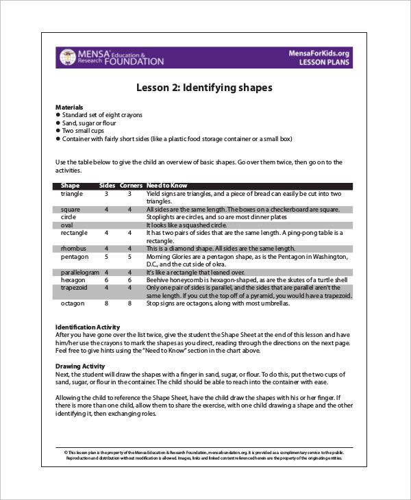 preschool kindergarten lesson plan