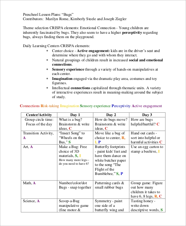 Sample Preschool Lesson Plan   Examples In Word Pdf