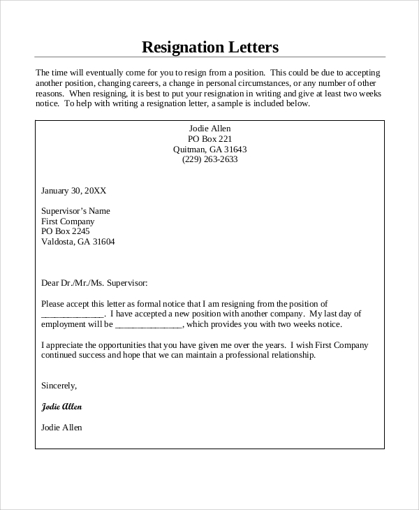 Sample Resignation Letter 8 Examples in Word PDF – Resignation Letters Samples with Reasons