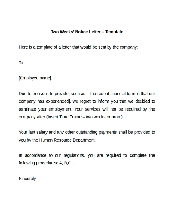 Resignation Letter Sample 2 Weeks Notice  Resignation Letter Sample 2 Weeks Notice