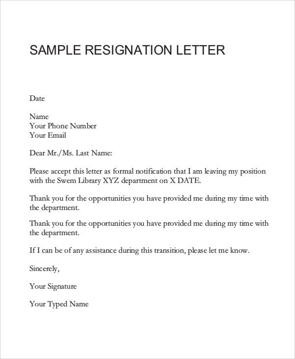 Sample-Resignation-Letter1 Official Resignation And Complaint Letter Template on simple sample, sample teacher, two weeks notice, personal reasons, for kappa,