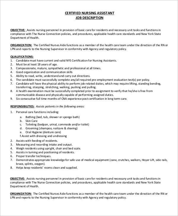 Sample Cna Job Description   Examples In Pdf