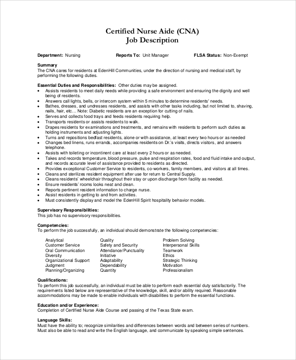 cna job description for resume. Resume Example. Resume CV Cover Letter