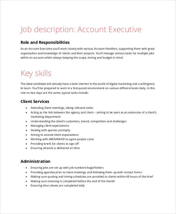 Sample Accountant Job Description   Examples In  Word