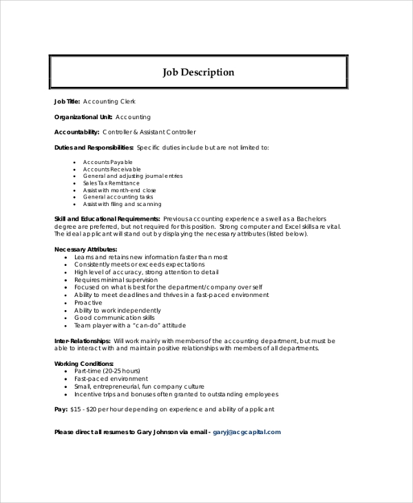 Accounting Assistant Job Description Sample Resume Accounting  Accounting Clerk Duties