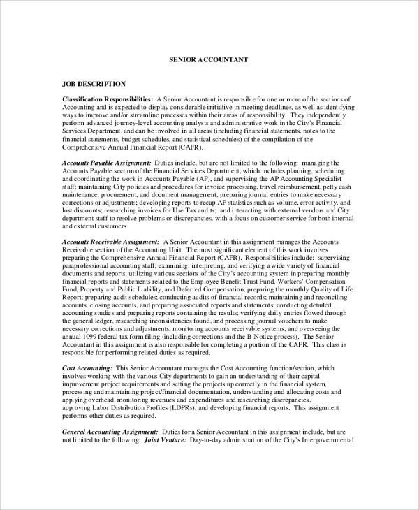 Sample Accountant Job Description - 8+ Examples In Pdf, Word