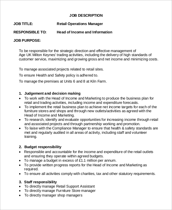 Amazing Retail Operations Manager Job Description