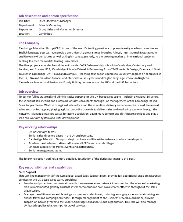 Sample Operations Manager Job Description 8 Examples in PDF – Operations Director Job Description