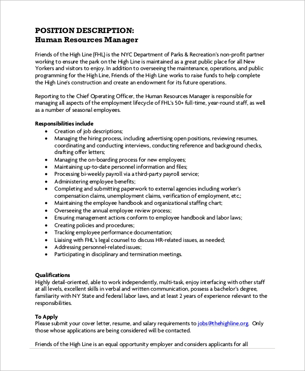 Human Resources Manager Job Description  PetitComingoutpolyCo