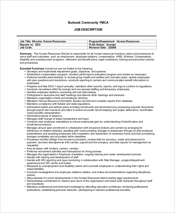 Sample Human Resources Job Description - 7+ Examples In Pdf