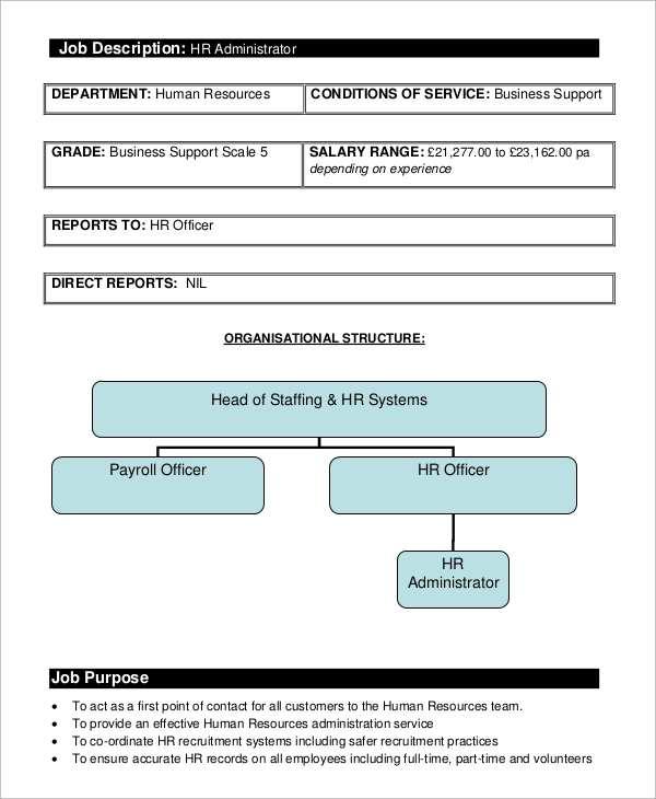 Sample Human Resources Job Description   Examples In Pdf
