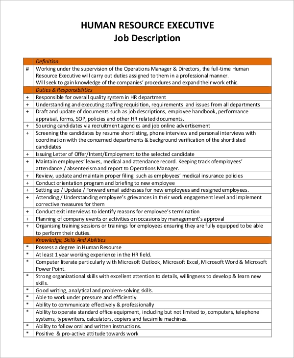 Hr Intern Job Description Human Resources Manager Job Description