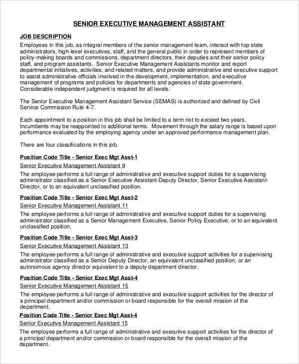 Sample Executive Assistant Job Description - 8+ Examples In Pdf, Word