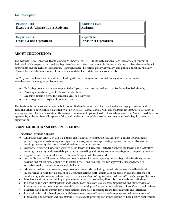 executive administrative assistant job description. Resume Example. Resume CV Cover Letter