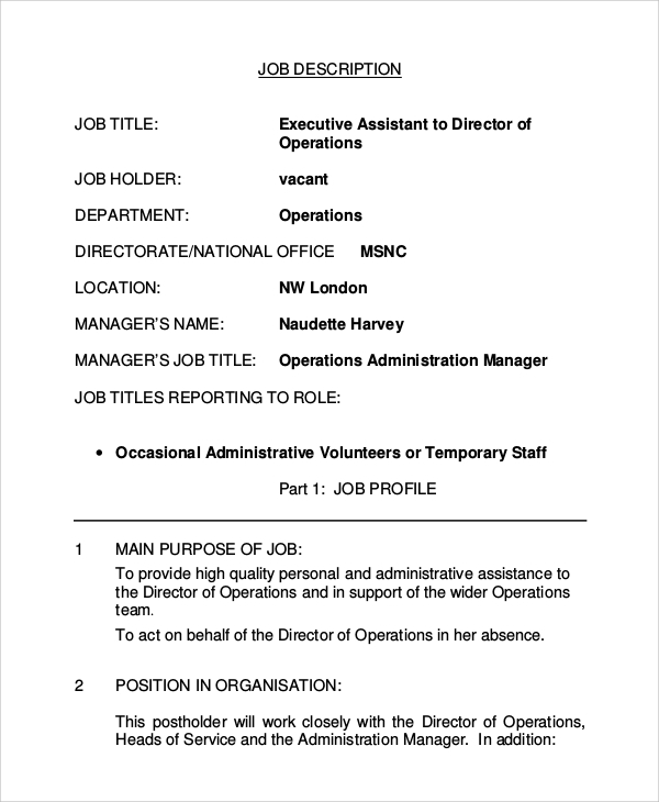 Sample Executive Assistant Job Description 8 Examples in PDF Word – Personal Assistant Job Description