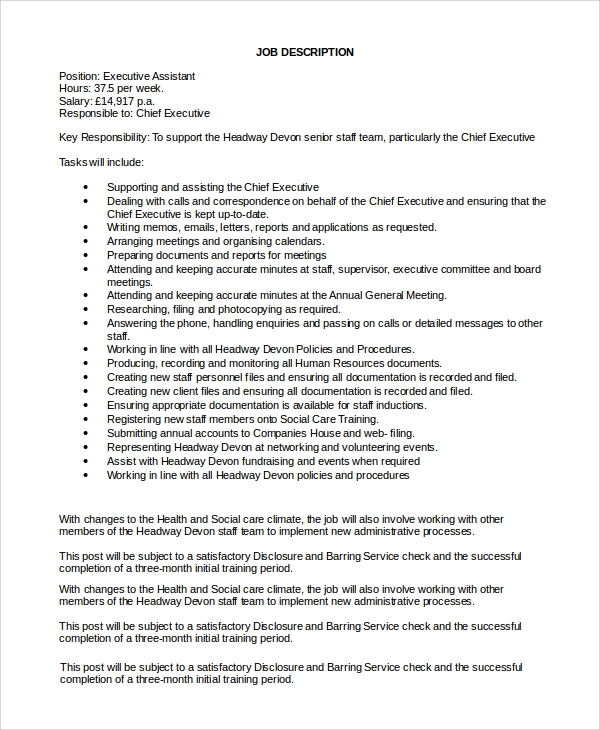 Executive Assistant Position Description Sample Executive