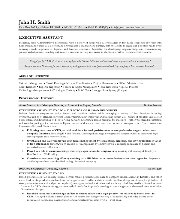 executive assistant job description template