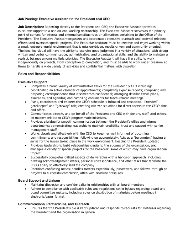 Sample Executive Assistant Job Description 8 Examples