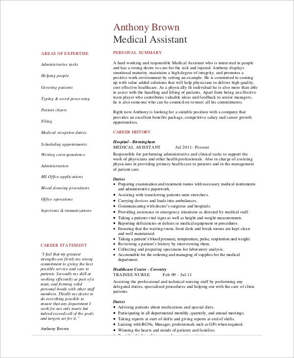 medical office administration resume templates assistant sample in india