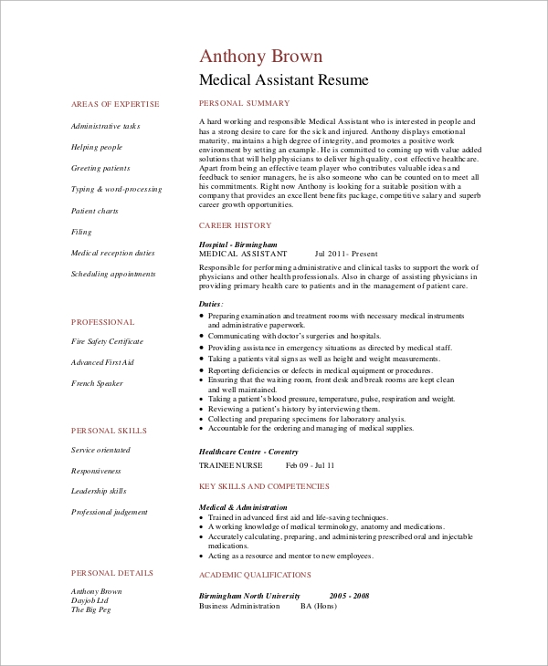 Sample Medical Assistant Resume   Examples In Pdf