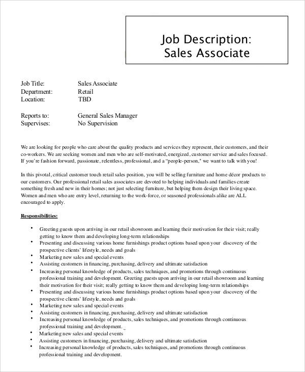 job description for retail sales associate