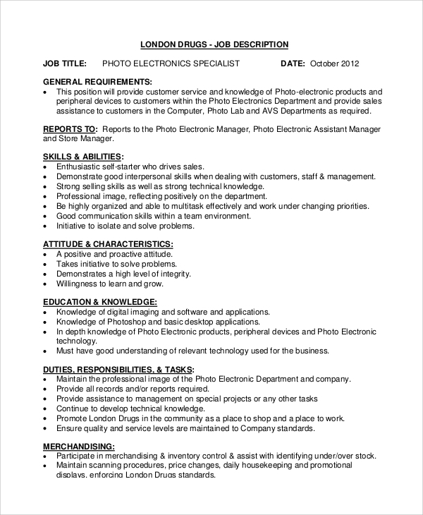 Sample Sales Associate Job Description   Examples In Pdf Word