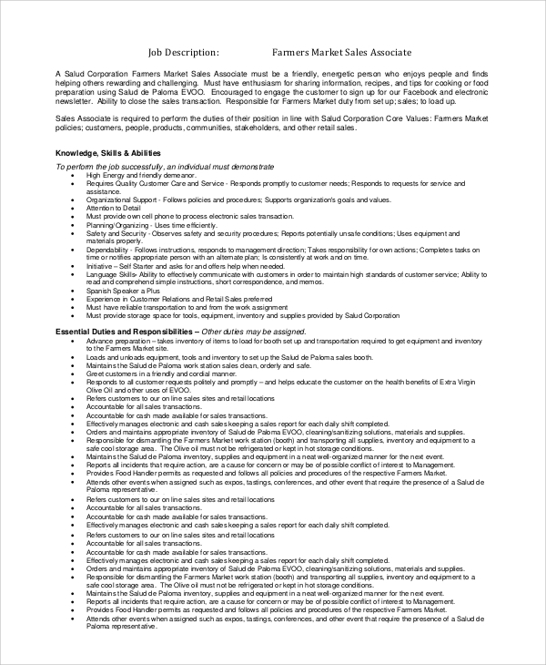 Sample Sales Associate Job Description 9 Examples in PDF Word – Retail Sales Associate Job Description