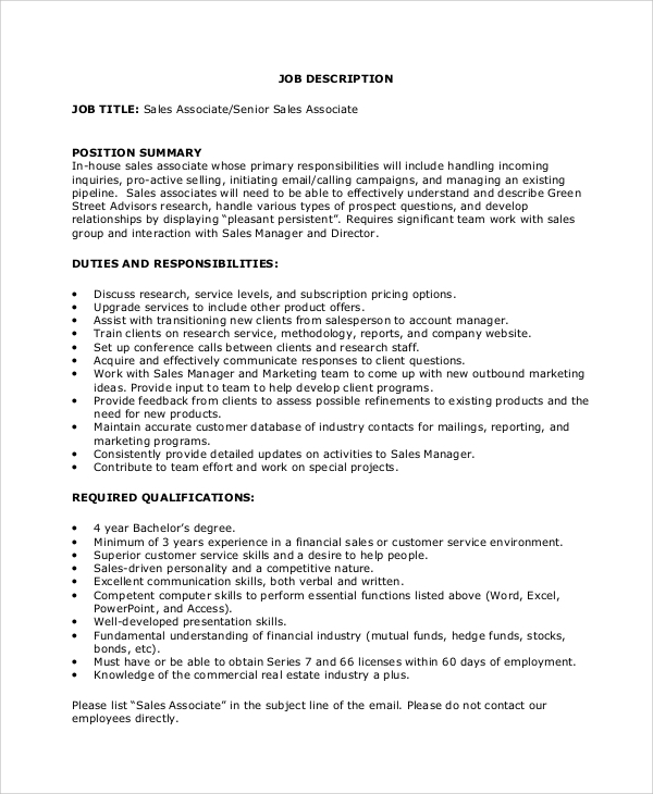 Sample Sales Associate Job Description   Examples In  Word