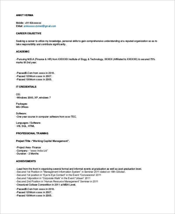 Sample Resume Format For Freshers » Sample Resume Format - 8+