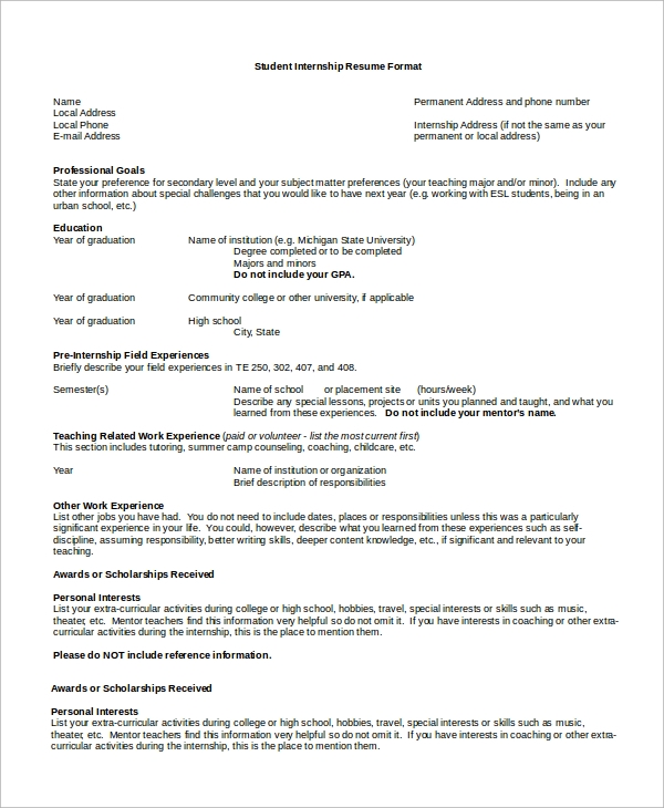 8 sample resume formats sample templates
