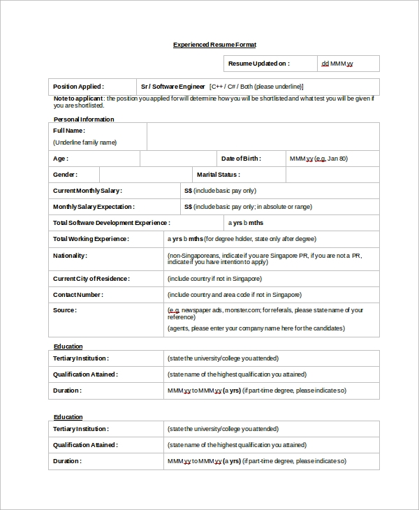 Sample Resume Format 8 Examples in Word PDF – Resume Format Singapore