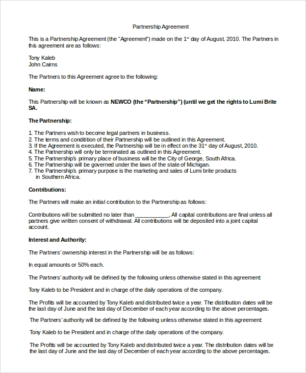sample partnership agreement1