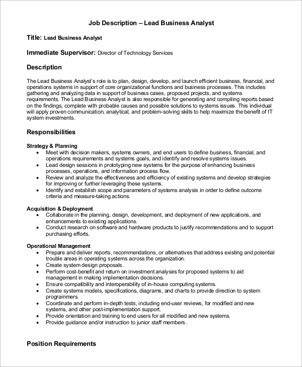 Sample Business Analyst Job Description - 7+ Examples In Pdf